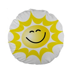 The Sun A Smile The Rays Yellow Standard 15  Premium Flano Round Cushions by Simbadda