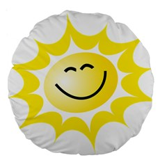The Sun A Smile The Rays Yellow Large 18  Premium Flano Round Cushions by Simbadda