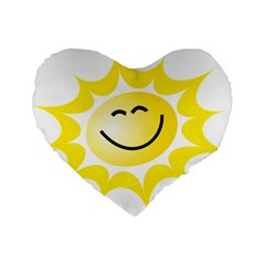 The Sun A Smile The Rays Yellow Standard 16  Premium Flano Heart Shape Cushions by Simbadda