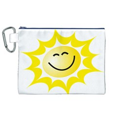 The Sun A Smile The Rays Yellow Canvas Cosmetic Bag (xl) by Simbadda