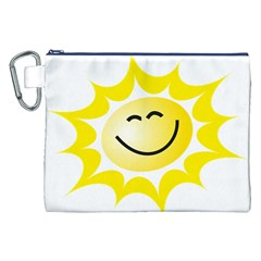 The Sun A Smile The Rays Yellow Canvas Cosmetic Bag (xxl) by Simbadda