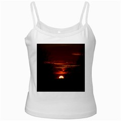 Sunset Sun Fireball Setting Sun White Spaghetti Tank by Simbadda