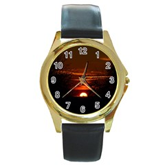 Sunset Sun Fireball Setting Sun Round Gold Metal Watch by Simbadda