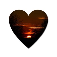 Sunset Sun Fireball Setting Sun Heart Magnet by Simbadda