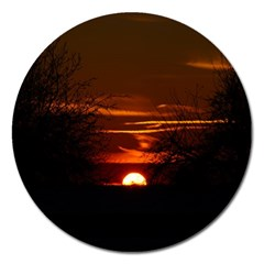 Sunset Sun Fireball Setting Sun Magnet 5  (round) by Simbadda