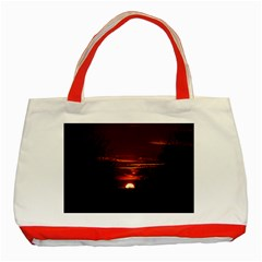 Sunset Sun Fireball Setting Sun Classic Tote Bag (red) by Simbadda
