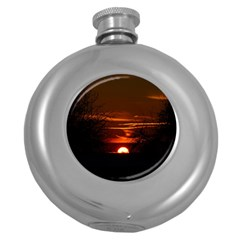Sunset Sun Fireball Setting Sun Round Hip Flask (5 Oz) by Simbadda