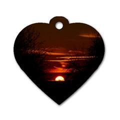 Sunset Sun Fireball Setting Sun Dog Tag Heart (one Side) by Simbadda