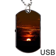 Sunset Sun Fireball Setting Sun Dog Tag Usb Flash (two Sides) by Simbadda