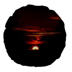 Sunset Sun Fireball Setting Sun Large 18  Premium Flano Round Cushions by Simbadda