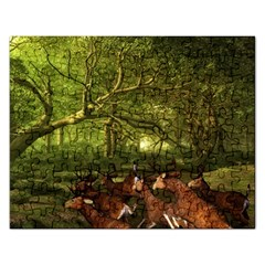 Red Deer Deer Roe Deer Antler Rectangular Jigsaw Puzzl by Simbadda