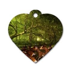 Red Deer Deer Roe Deer Antler Dog Tag Heart (two Sides) by Simbadda