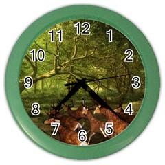 Red Deer Deer Roe Deer Antler Color Wall Clocks by Simbadda