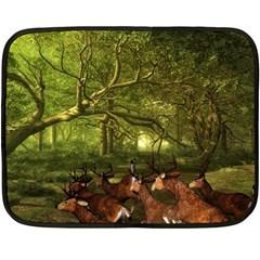 Red Deer Deer Roe Deer Antler Double Sided Fleece Blanket (mini)  by Simbadda