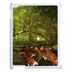 Red Deer Deer Roe Deer Antler Apple Ipad 2 Case (white) by Simbadda