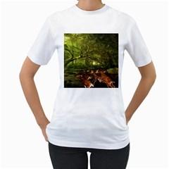 Red Deer Deer Roe Deer Antler Women s T Shirt (white)  by Simbadda