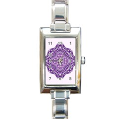Mandala Purple Mandalas Balance Rectangle Italian Charm Watch by Simbadda