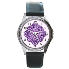 Mandala Purple Mandalas Balance Round Metal Watch by Simbadda