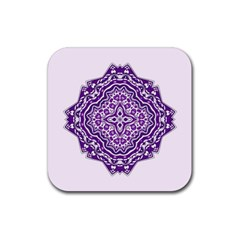 Mandala Purple Mandalas Balance Rubber Coaster (square)  by Simbadda