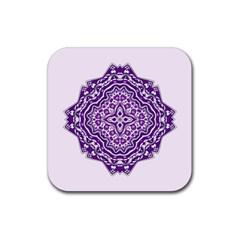 Mandala Purple Mandalas Balance Rubber Square Coaster (4 Pack)  by Simbadda