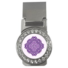 Mandala Purple Mandalas Balance Money Clips (cz)  by Simbadda