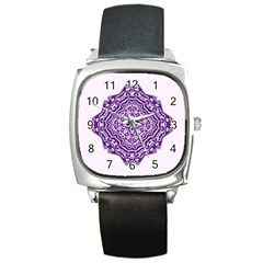 Mandala Purple Mandalas Balance Square Metal Watch by Simbadda
