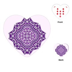 Mandala Purple Mandalas Balance Playing Cards (heart)  by Simbadda