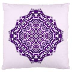 Mandala Purple Mandalas Balance Large Cushion Case (one Side) by Simbadda