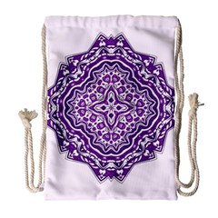 Mandala Purple Mandalas Balance Drawstring Bag (large) by Simbadda