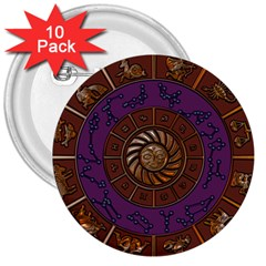Zodiak Zodiac Sign Metallizer Art 3  Buttons (10 Pack)  by Simbadda