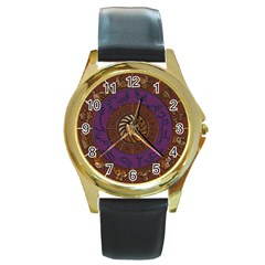 Zodiak Zodiac Sign Metallizer Art Round Gold Metal Watch by Simbadda