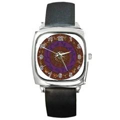 Zodiak Zodiac Sign Metallizer Art Square Metal Watch by Simbadda