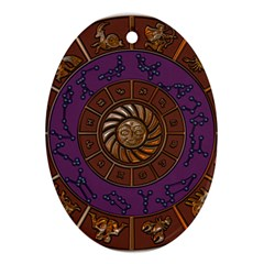 Zodiak Zodiac Sign Metallizer Art Oval Ornament (two Sides) by Simbadda