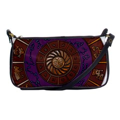 Zodiak Zodiac Sign Metallizer Art Shoulder Clutch Bags by Simbadda