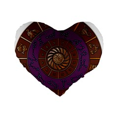 Zodiak Zodiac Sign Metallizer Art Standard 16  Premium Heart Shape Cushions by Simbadda