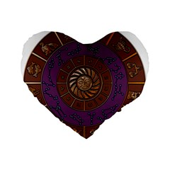 Zodiak Zodiac Sign Metallizer Art Standard 16  Premium Flano Heart Shape Cushions by Simbadda