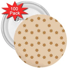 Pattern Gingerbread Star 3  Buttons (100 Pack)  by Simbadda