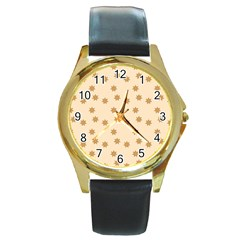 Pattern Gingerbread Star Round Gold Metal Watch by Simbadda