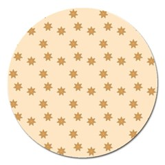 Pattern Gingerbread Star Magnet 5  (round) by Simbadda