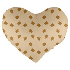 Pattern Gingerbread Star Large 19  Premium Heart Shape Cushions by Simbadda