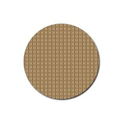 Pattern Background Brown Lines Rubber Round Coaster (4 Pack)  by Simbadda