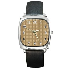 Pattern Background Brown Lines Square Metal Watch by Simbadda