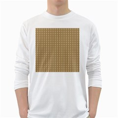 Pattern Background Brown Lines White Long Sleeve T Shirts by Simbadda