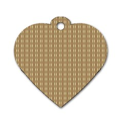Pattern Background Brown Lines Dog Tag Heart (one Side) by Simbadda