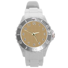Pattern Background Brown Lines Round Plastic Sport Watch (l) by Simbadda