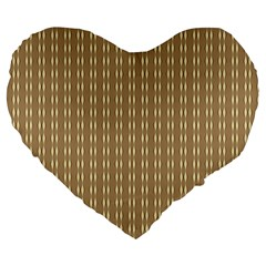 Pattern Background Brown Lines Large 19  Premium Heart Shape Cushions by Simbadda