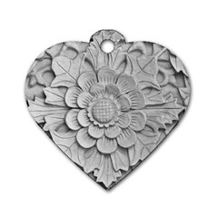 Pattern Motif Decor Dog Tag Heart (one Side) by Simbadda