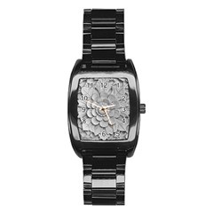 Pattern Motif Decor Stainless Steel Barrel Watch by Simbadda