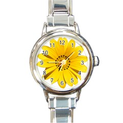 Transparent Flower Summer Yellow Round Italian Charm Watch by Simbadda