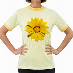 Transparent Flower Summer Yellow Women s Fitted Ringer T Shirts by Simbadda